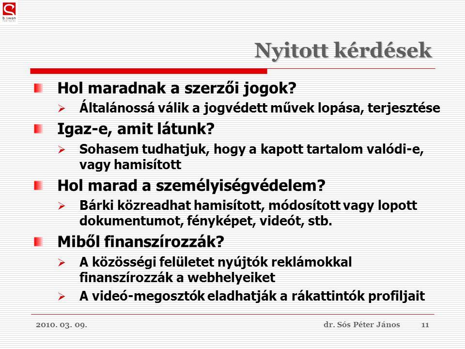 2010. 03. 09.dr. Sós Péter János11 Nyitott kérdések Hol maradnak a szerzői jogok.