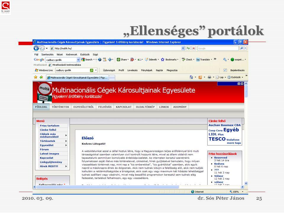 """2010. 03. 09.dr. Sós Péter János25 """"Ellenséges portálok"""