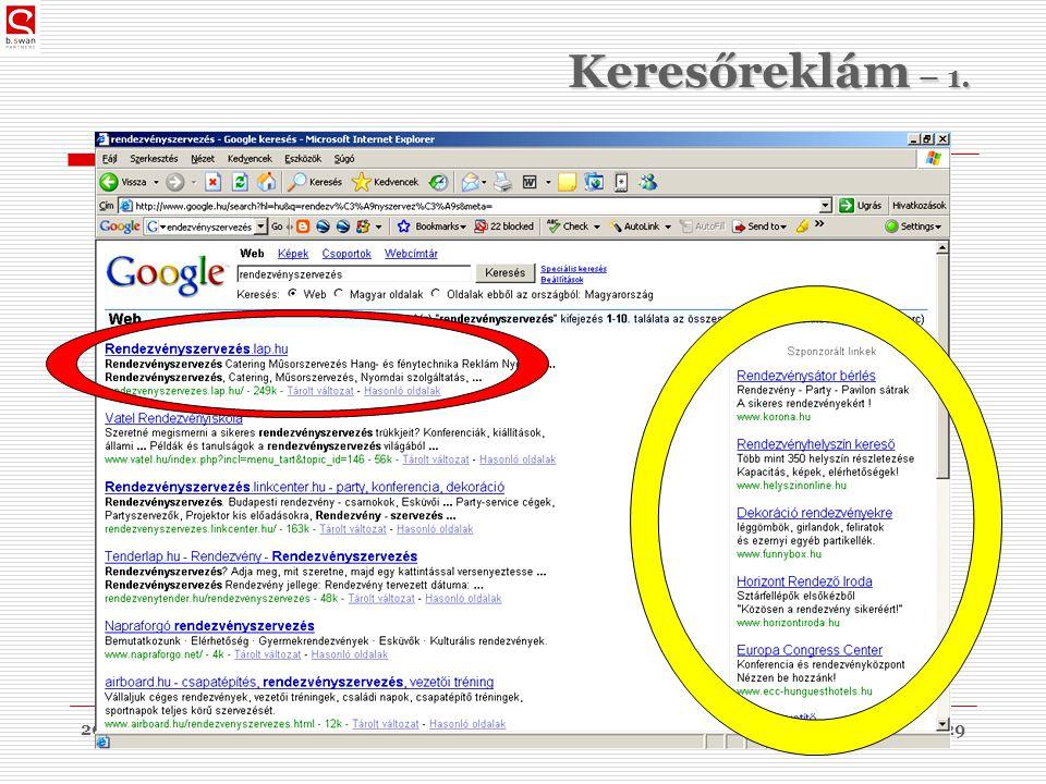2010. 03. 09.dr. Sós Péter János29 Keresőreklám – 1.