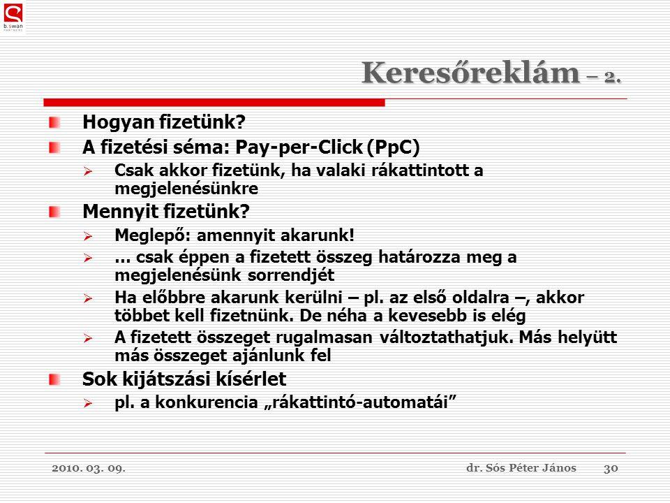 2010. 03. 09.dr. Sós Péter János30 Keresőreklám – 2.