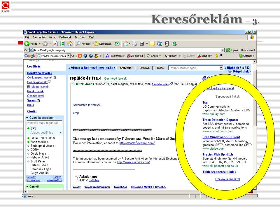 2010. 03. 09.dr. Sós Péter János31 Keresőreklám – 3.
