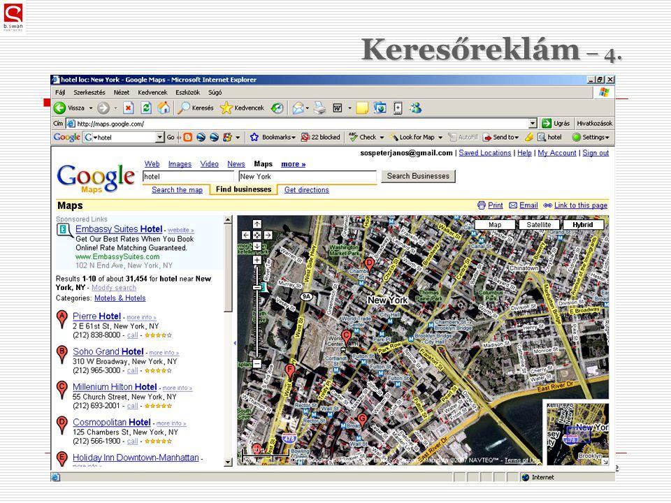 2010. 03. 09.dr. Sós Péter János32 Keresőreklám – 4.