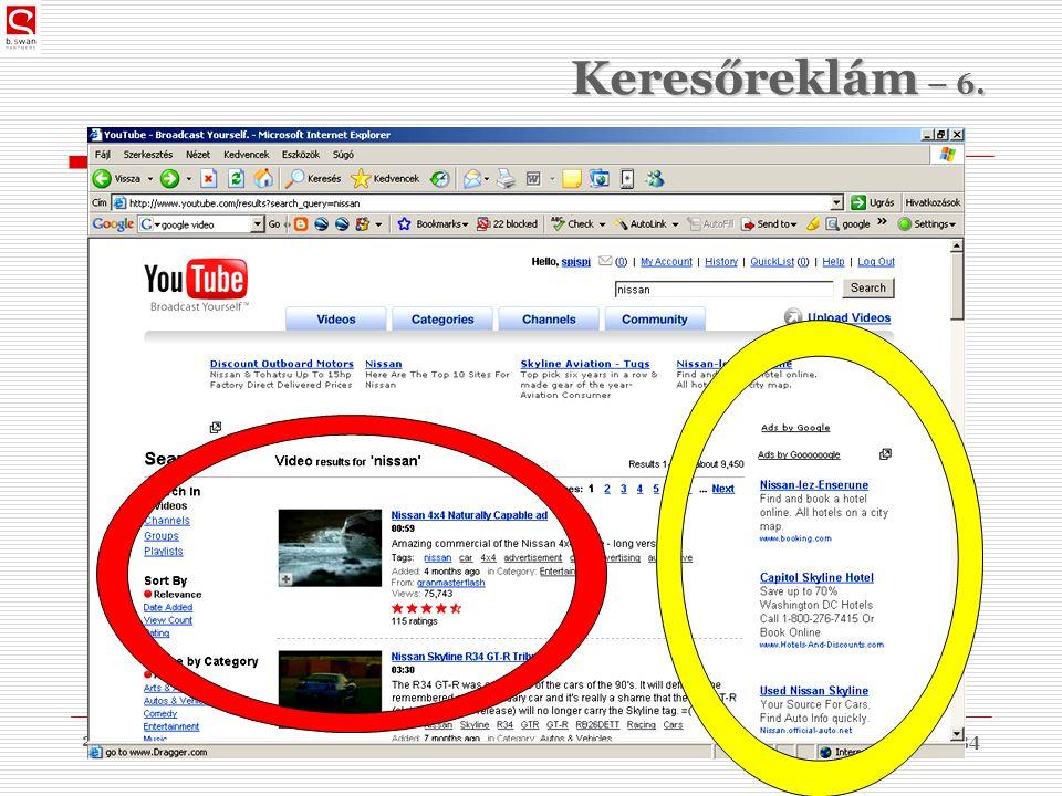 2010. 03. 09.dr. Sós Péter János34 Keresőreklám – 6.