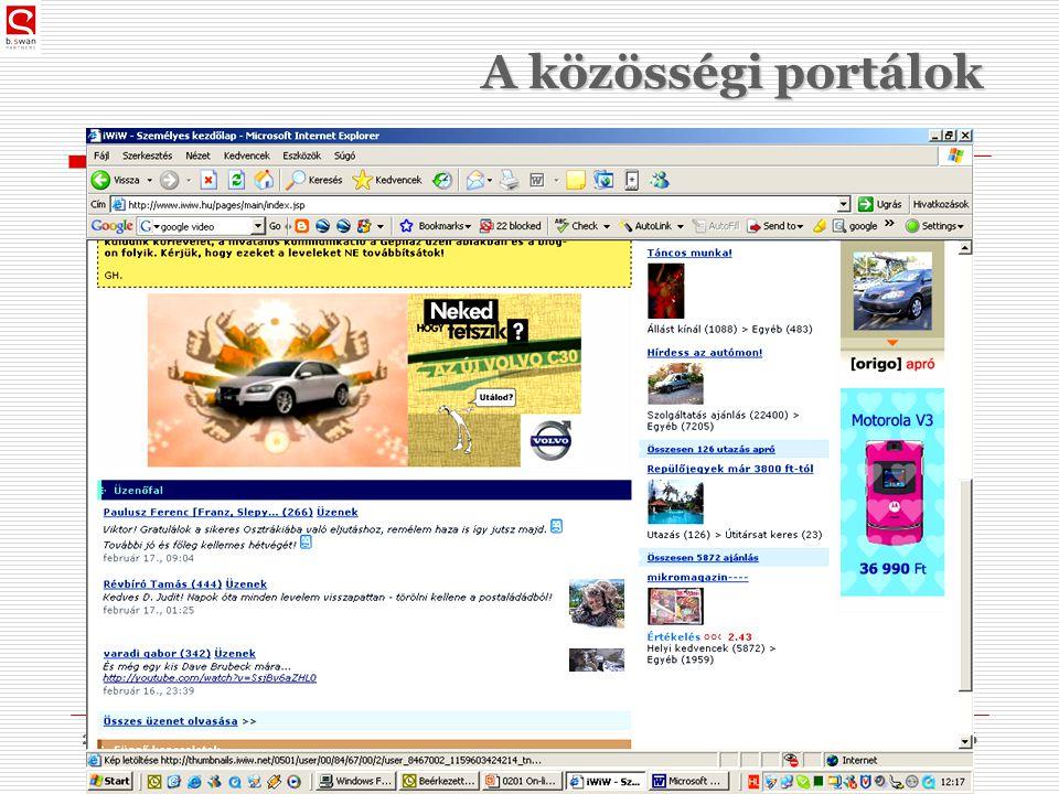 2010. 03. 09.dr. Sós Péter János36 A közösségi portálok