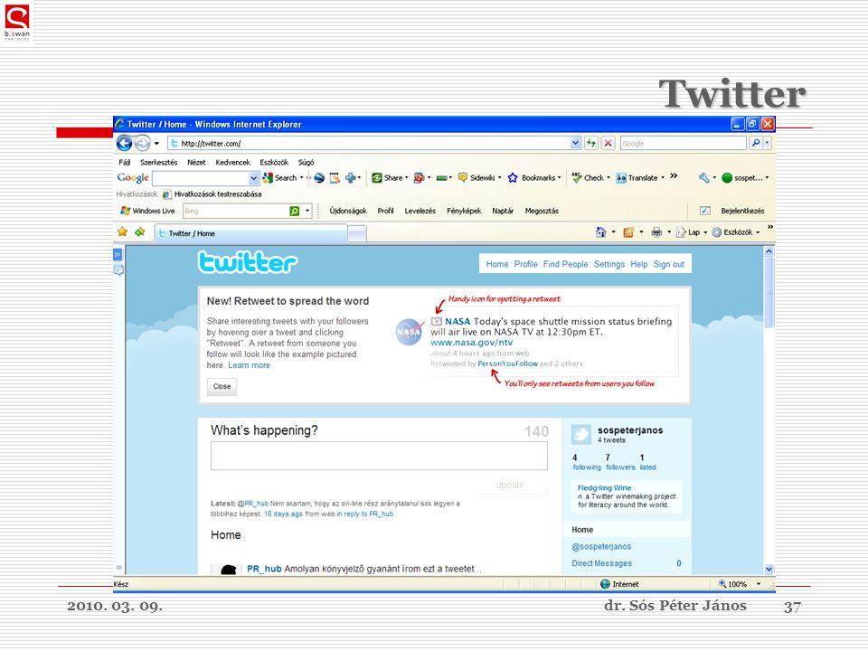 2010. 03. 09.dr. Sós Péter János37 Twitter