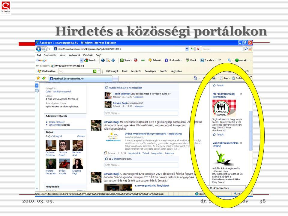 2010. 03. 09.dr. Sós Péter János38 Hirdetés a közösségi portálokon