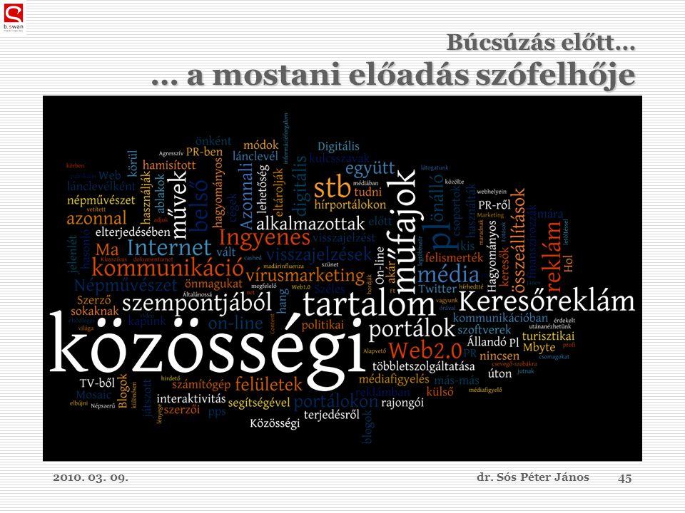 2010. 03. 09.dr. Sós Péter János45 Búcsúzás előtt… … a mostani előadás szófelhője