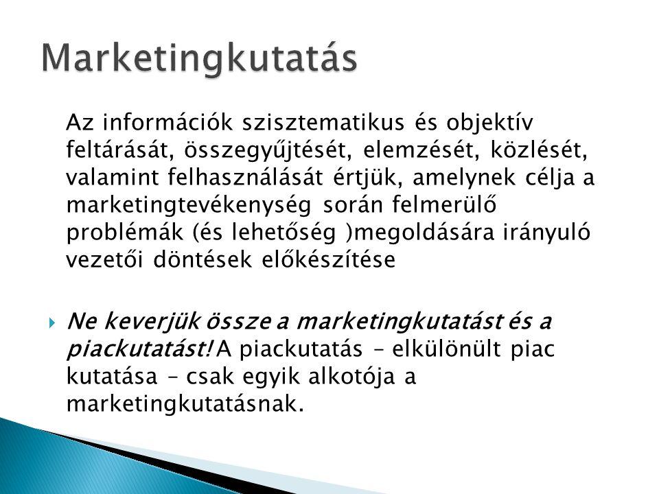 Az információk szisztematikus és objektív feltárását, összegyűjtését, elemzését, közlését, valamint felhasználását értjük, amelynek célja a marketingtevékenység során felmerülő problémák (és lehetőség )megoldására irányuló vezetői döntések előkészítése  Ne keverjük össze a marketingkutatást és a piackutatást.