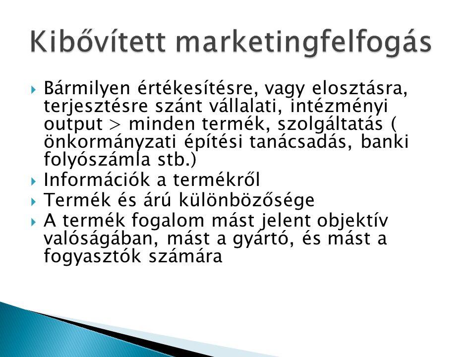  Bármilyen értékesítésre, vagy elosztásra, terjesztésre szánt vállalati, intézményi output > minden termék, szolgáltatás ( önkormányzati építési tanácsadás, banki folyószámla stb.)  Információk a termékről  Termék és árú különbözősége  A termék fogalom mást jelent objektív valóságában, mást a gyártó, és mást a fogyasztók számára