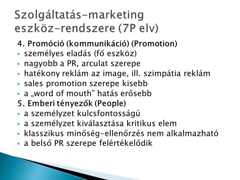 4. Promóció (kommunikáció) (Promotion)  személyes eladás (fő eszköz)  nagyobb a PR, arculat szerepe  hatékony reklám az image, ill. szimpátia reklá