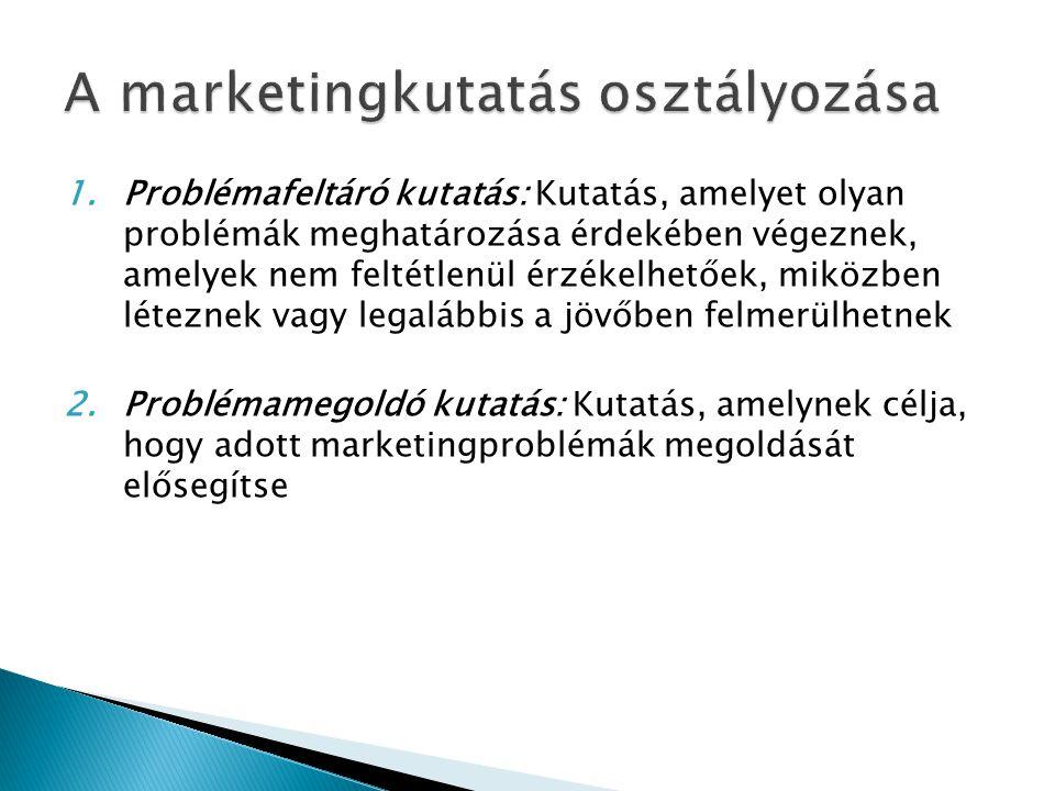 1.Problémafeltáró kutatás: Kutatás, amelyet olyan problémák meghatározása érdekében végeznek, amelyek nem feltétlenül érzékelhetőek, miközben léteznek vagy legalábbis a jövőben felmerülhetnek 2.Problémamegoldó kutatás: Kutatás, amelynek célja, hogy adott marketingproblémák megoldását elősegítse