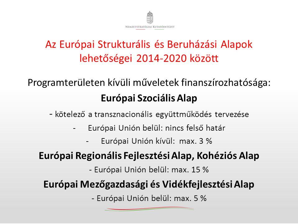 Az Európai Strukturális és Beruházási Alapok lehetőségei 2014-2020 között Programterületen kívüli műveletek finanszírozhatósága: Európai Szociális Ala