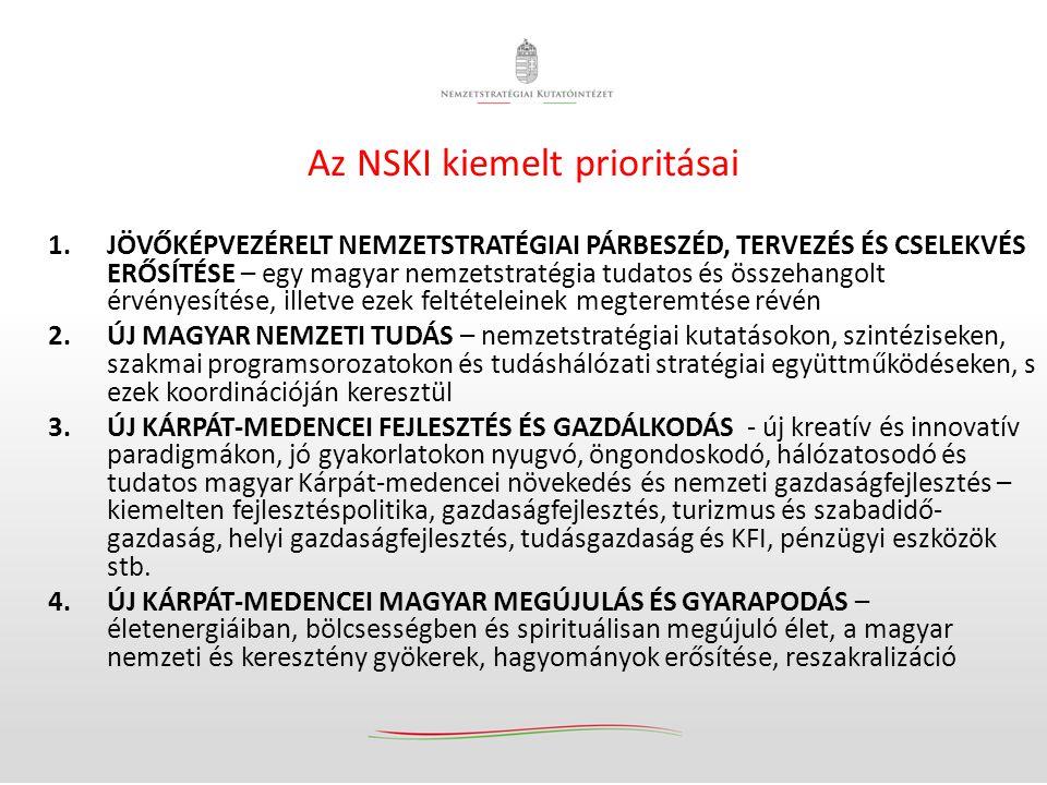 Az NSKI kiemelt prioritásai 1.JÖVŐKÉPVEZÉRELT NEMZETSTRATÉGIAI PÁRBESZÉD, TERVEZÉS ÉS CSELEKVÉS ERŐSÍTÉSE – egy magyar nemzetstratégia tudatos és össz