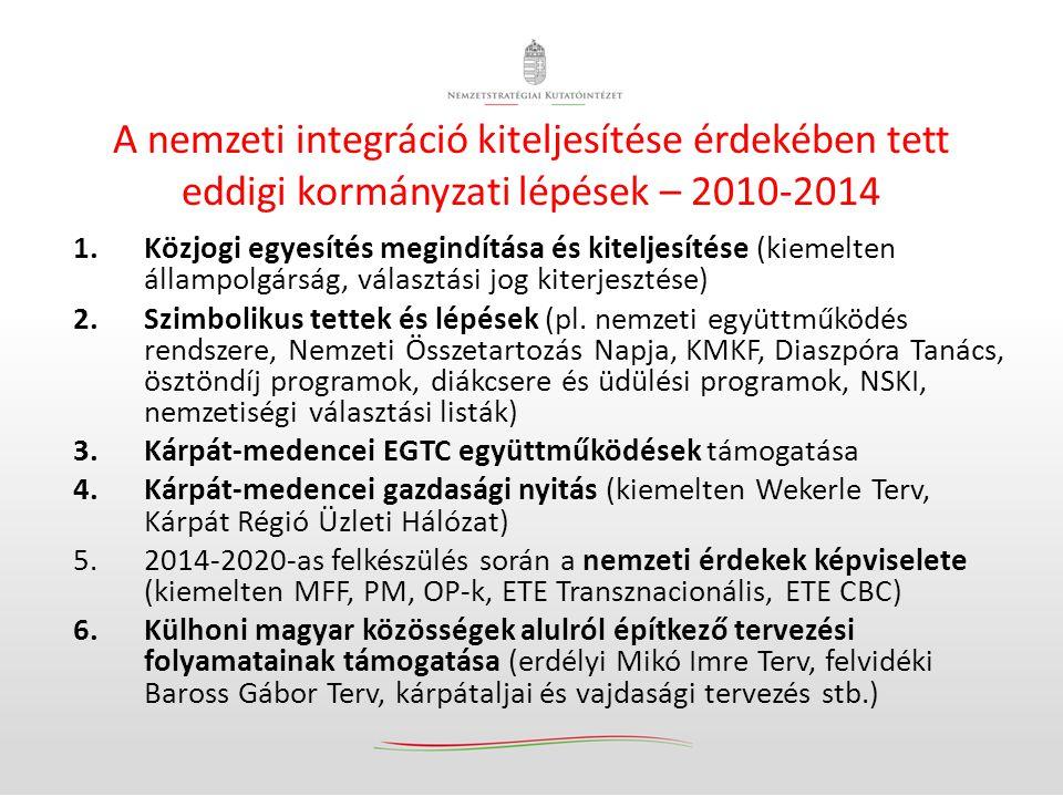 A nemzeti integráció kiteljesítése érdekében tett eddigi kormányzati lépések – 2010-2014 1.Közjogi egyesítés megindítása és kiteljesítése (kiemelten á