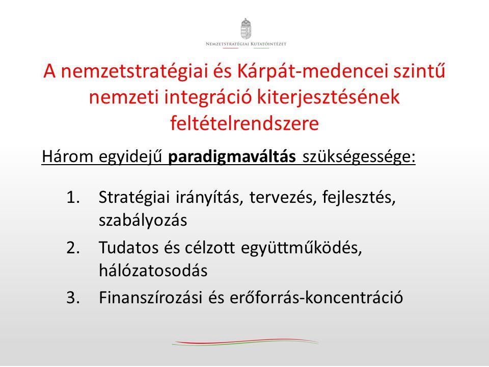 A nemzeti integráció kiteljesítése érdekében szükséges további lépések – 2014-2018 1.Közös nemzetstratégiai válaszok és nemzetstratégiai alternatívák kidolgozása – egyes kiemelt nemzetstratégiai kérdésekben és területeken 2.A magyar ágazati és szakpolitikák tervezési, fejlesztési, szabályozási és cselekvési-pénzügyi rádiuszának tudatos kiterjesztése a külhoni magyar területek és közösségek irányában 3.Alapos előkészítő munka után a közszolgáltatási akadálymentesítés és a magyar közszolgáltatások külhoni kiterjesztésének megindítása (kiemelten egészségügy, szociális) 4.A külhoni magyar intézményi hálózat tudatos fejlesztése és megerősítése a magyarok lakta területeken (külhoni új magyar fenntartású intézmények alapítása, fejlesztése) 5.A nemzeti társadalmi felelősségvállalás és együttműködés kötelezővé tétele a magyar költségvetési finanszírozású, társfinanszírozású intézményekben minimum az éves költségvetés 1%-ig – ilyen tevékenységek és szakmai feladatok finanszírozására