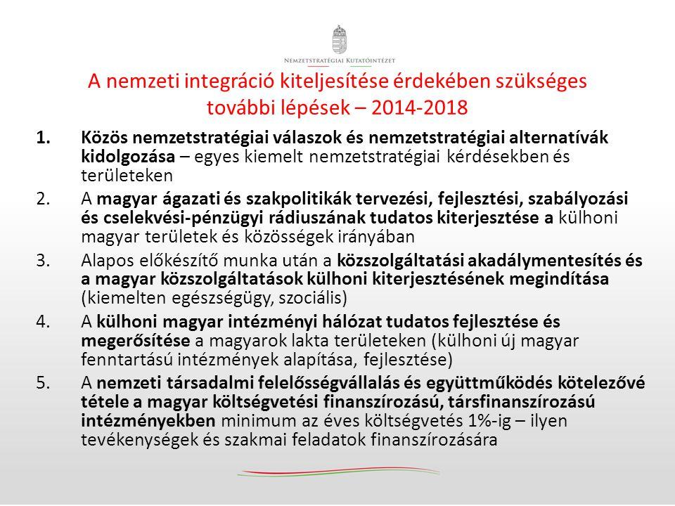 A nemzeti integráció kiteljesítése érdekében szükséges további lépések – 2014-2018 1.Közös nemzetstratégiai válaszok és nemzetstratégiai alternatívák