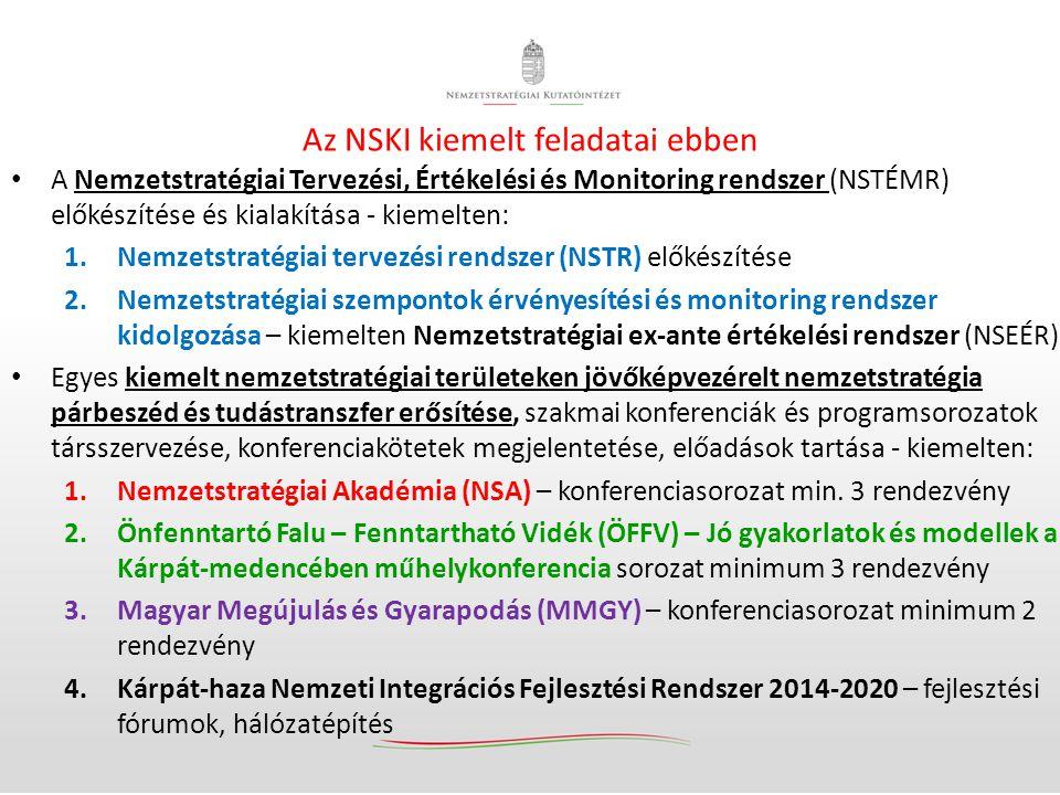 Az NSKI kiemelt feladatai ebben • A Nemzetstratégiai Tervezési, Értékelési és Monitoring rendszer (NSTÉMR) előkészítése és kialakítása - kiemelten: 1.