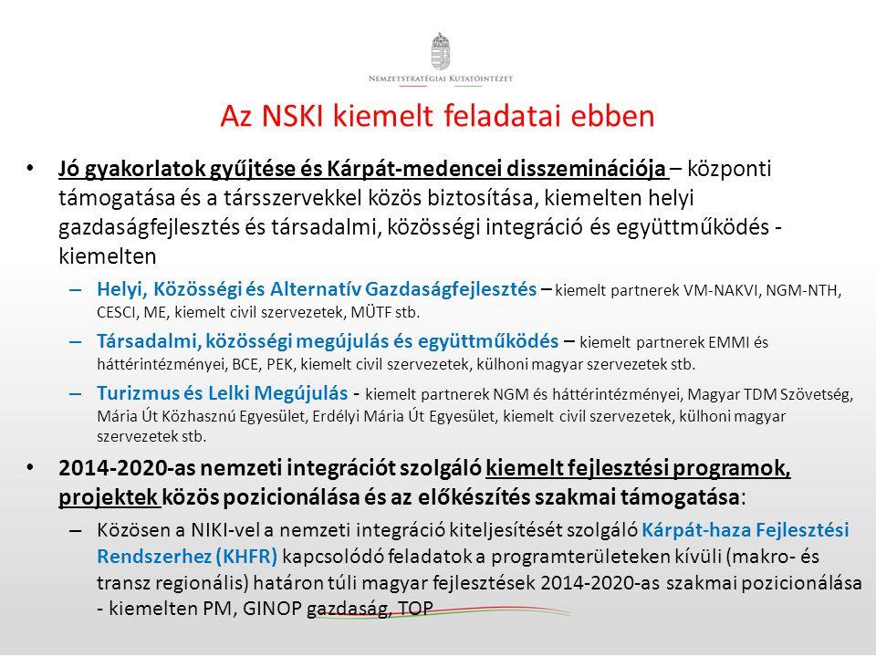 Az NSKI kiemelt feladatai ebben • Jó gyakorlatok gyűjtése és Kárpát-medencei disszeminációja – központi támogatása és a társszervekkel közös biztosítá