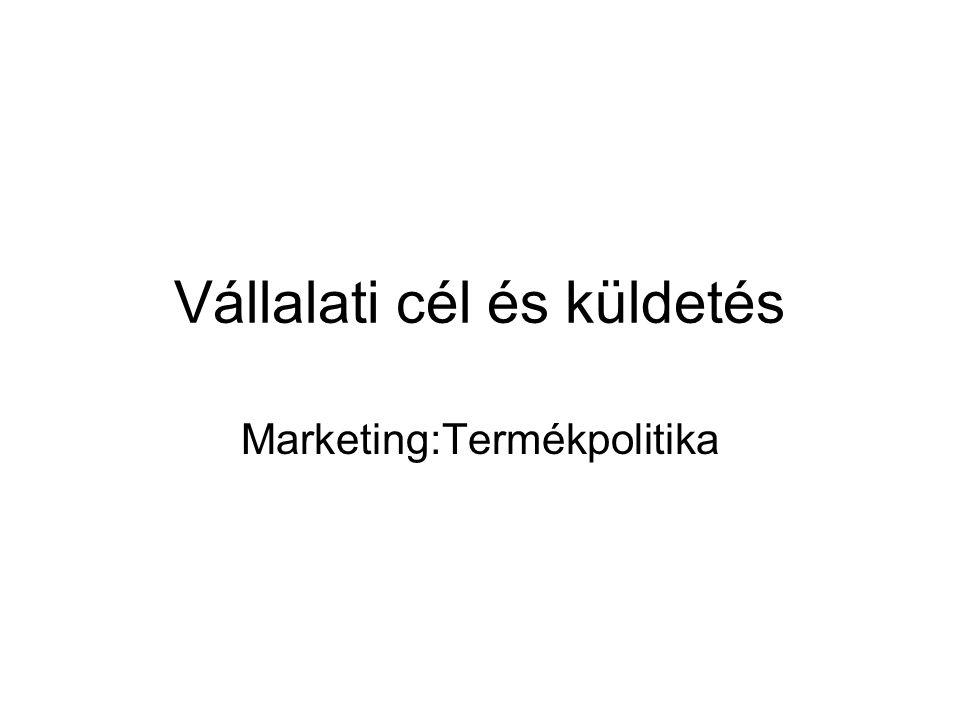 Vállalati cél és küldetés Marketing:Termékpolitika