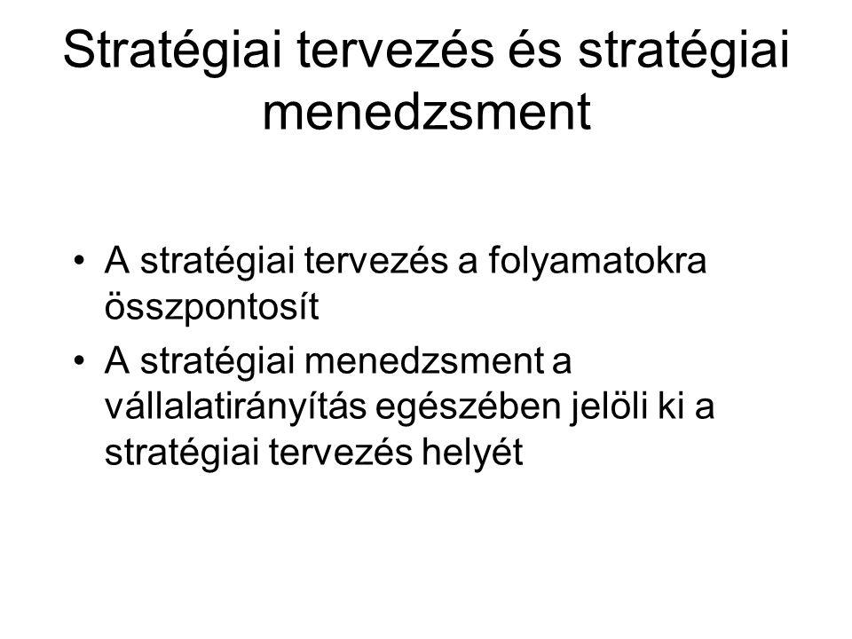 Stratégiai tervezés és stratégiai menedzsment •A stratégiai tervezés a folyamatokra összpontosít •A stratégiai menedzsment a vállalatirányítás egészéb