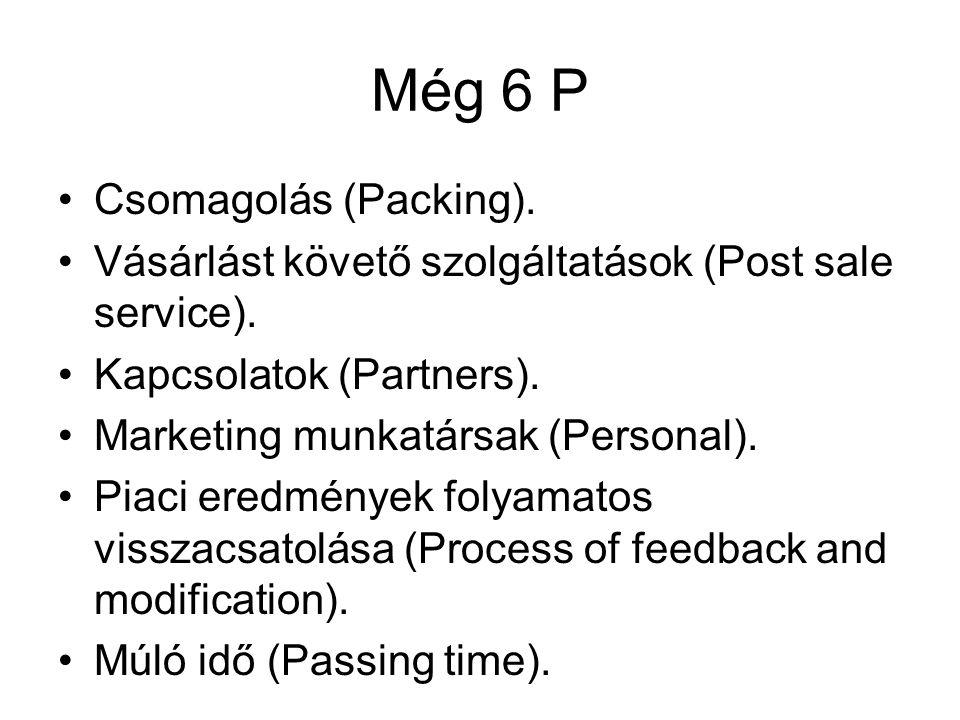 Még 6 P •Csomagolás (Packing). •Vásárlást követő szolgáltatások (Post sale service). •Kapcsolatok (Partners). •Marketing munkatársak (Personal). •Piac