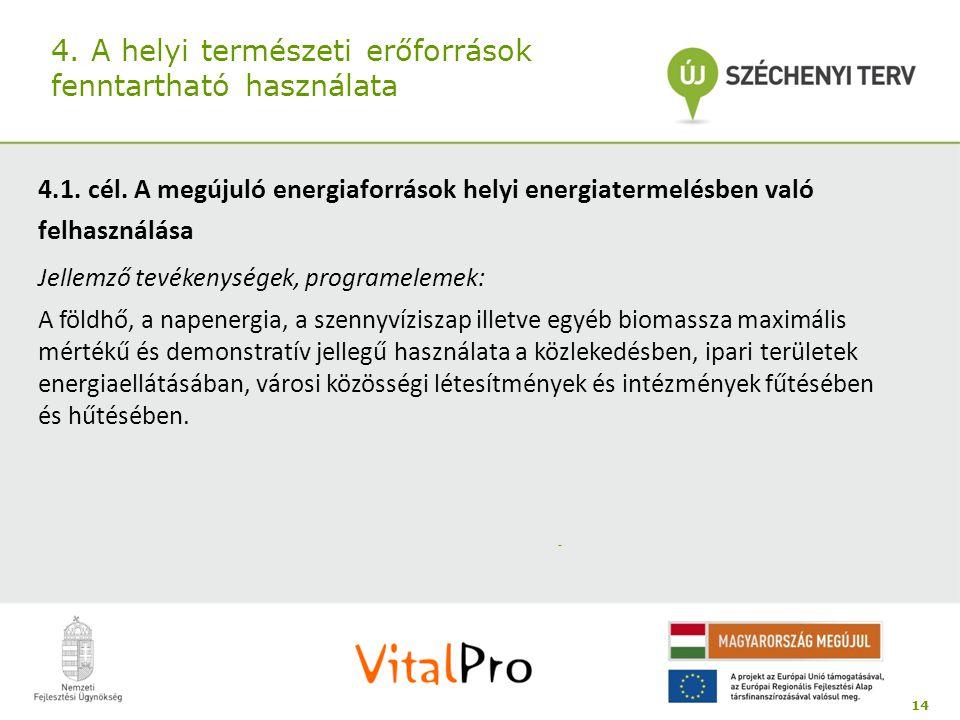 4. A helyi természeti erőforrások fenntartható használata 4.1. cél. A megújuló energiaforrások helyi energiatermelésben való felhasználása Jellemző te