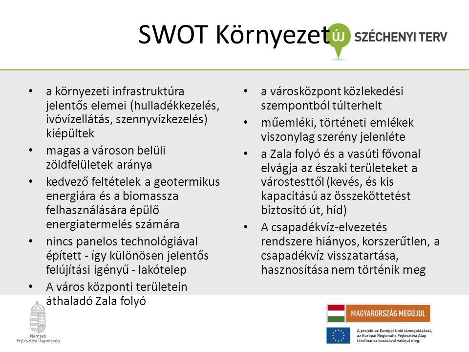 SWOT Környezet • a környezeti infrastruktúra jelentős elemei (hulladékkezelés, ivóvízellátás, szennyvízkezelés) kiépültek • magas a városon belüli zöl