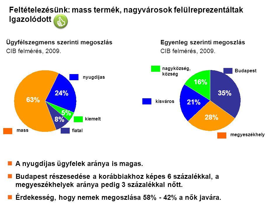 12 Feltételezésünk: mass termék, nagyvárosok felülreprezentáltak Igazolódott Ügyfélszegmens szerinti megoszlás CIB felmérés, 2009.