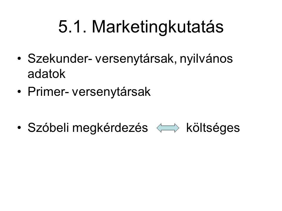 5.1. Marketingkutatás •Szekunder- versenytársak, nyilvános adatok •Primer- versenytársak •Szóbeli megkérdezésköltséges
