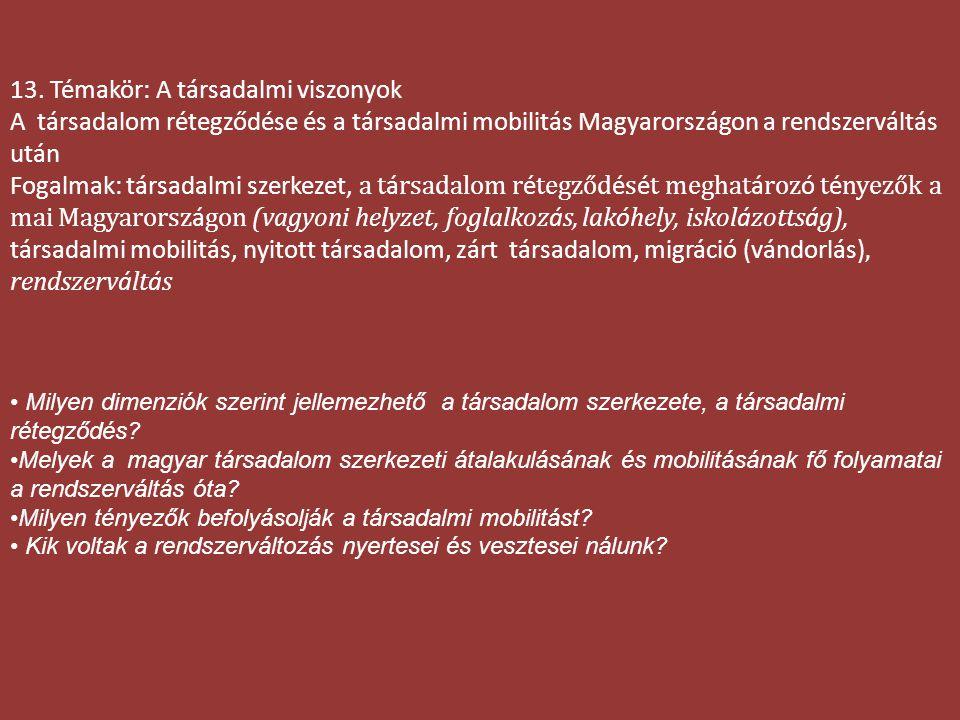 13. Témakör: A társadalmi viszonyok A társadalom rétegződése és a társadalmi mobilitás Magyarországon a rendszerváltás után Fogalmak: társadalmi szerk