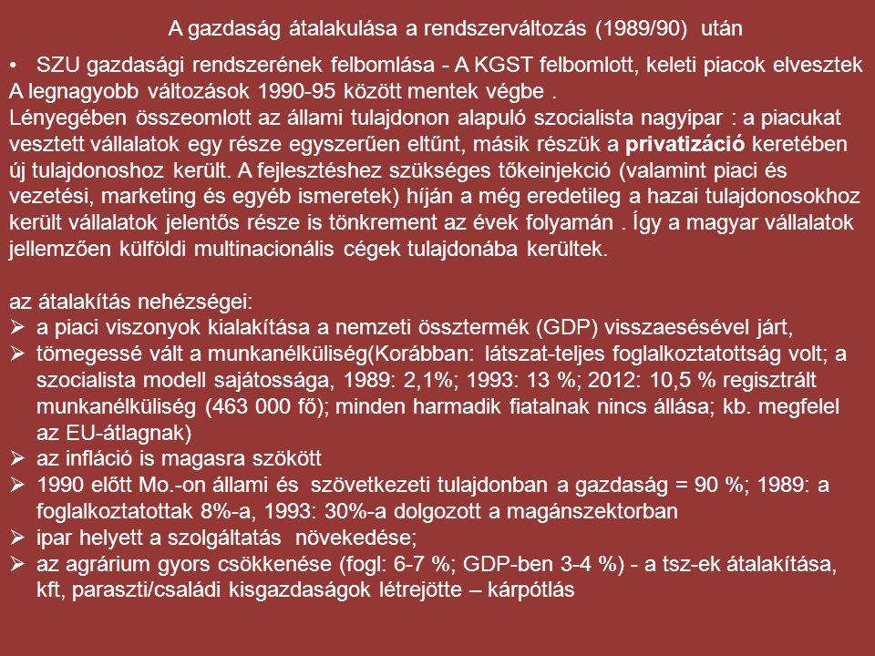 A gazdaság átalakulása a rendszerváltozás (1989/90) után •SZU gazdasági rendszerének felbomlása - A KGST felbomlott, keleti piacok elvesztek A legnagy