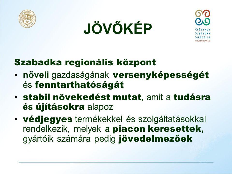 A gazdaság-fejlesztési stratégia küldetése • egybegyűjteni a Szabadka község területén működő entitások pozitív energiáit, • a város fenntartható és dinamikus fejlesztése, • a korszerű tudás és technológiák alkalmazásának elve