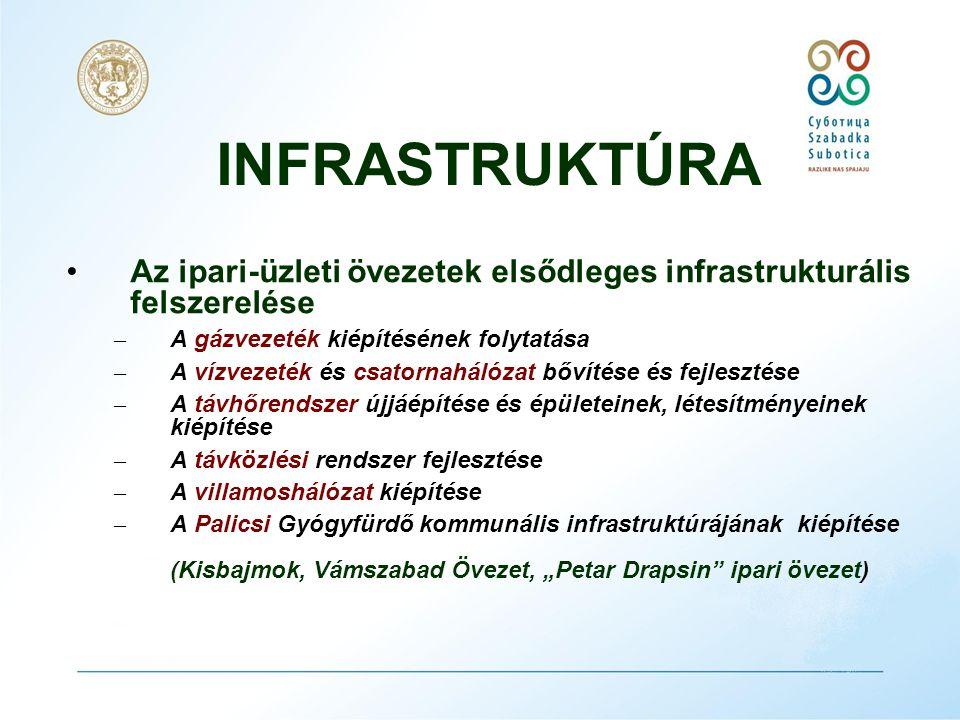 INFRASTRUKTÚRA •A logisztikai infrastruktúra fejlesztése – Multimodális szállítási rendszer kiépítése – Az Y – letérő logisztikája a város zaj- és légszennyezésének csökkentése végett.