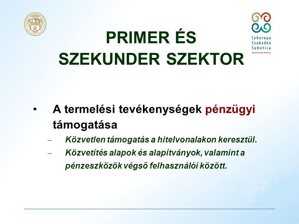 PRIMER ÉS SZEKUNDER SZEKTOR •Megfelelő, értelmiségi és szakkáderek képzése és a gazdasági fejlődés érdekében – Az oktatási és tanácsadó programok támogatása – A gazdaság innovatív potenciáljának növelése (mechatronika, átképzés, kísérleti tagozatok, bilingvális képzés)