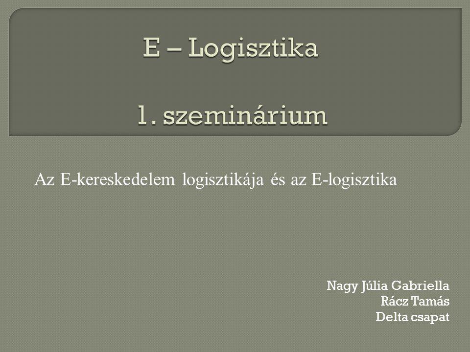 Nagy Júlia Gabriella Rácz Tamás Delta csapat Az E-kereskedelem logisztikája és az E-logisztika