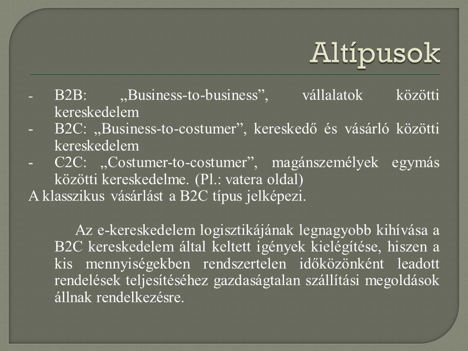 "- B2B: ""Business-to-business"", vállalatok közötti kereskedelem - B2C: ""Business-to-costumer"", kereskedő és vásárló közötti kereskedelem - C2C: ""Costum"