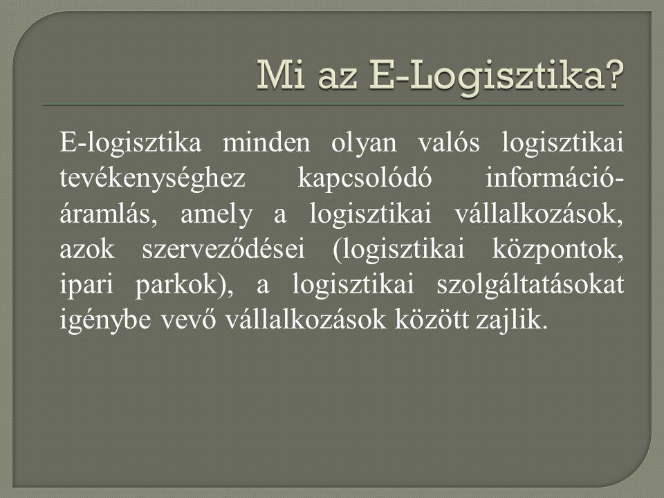 E-logisztika minden olyan valós logisztikai tevékenységhez kapcsolódó információ- áramlás, amely a logisztikai vállalkozások, azok szerveződései (logi