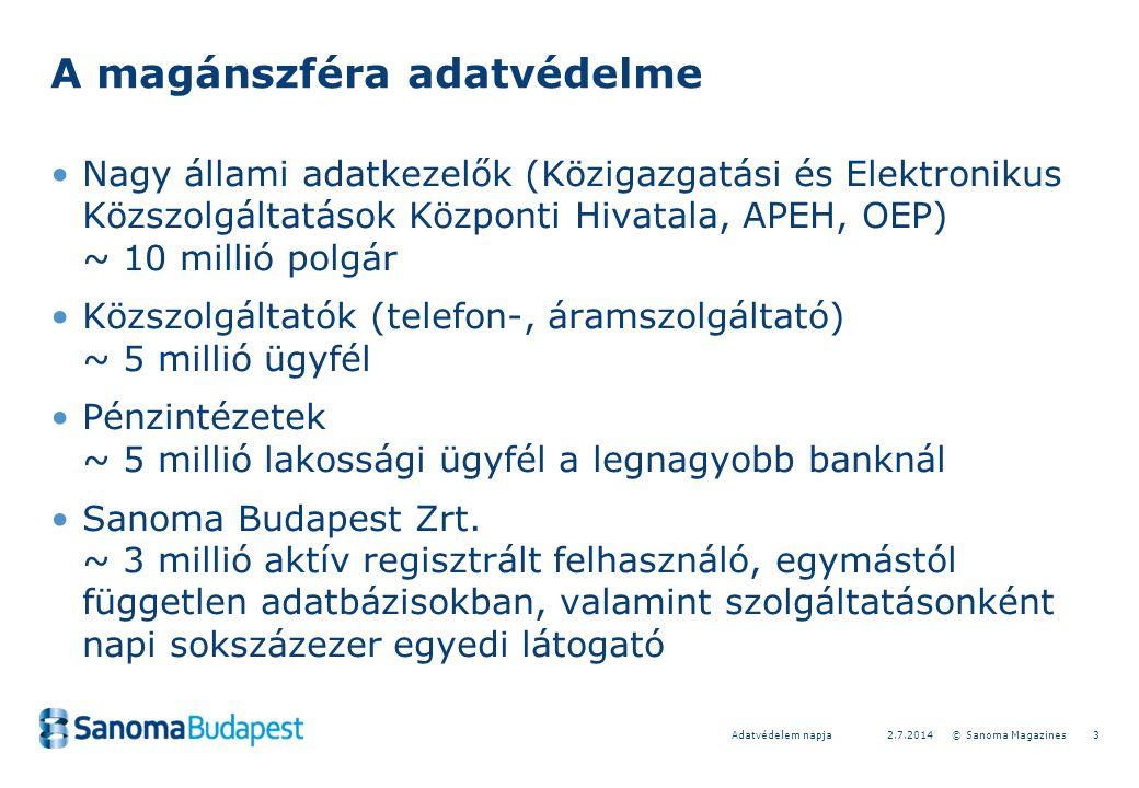 32.7.2014 © Sanoma MagazinesAdatvédelem napja A magánszféra adatvédelme •Nagy állami adatkezelők (Közigazgatási és Elektronikus Közszolgáltatások Központi Hivatala, APEH, OEP) ~ 10 millió polgár •Közszolgáltatók (telefon-, áramszolgáltató) ~ 5 millió ügyfél •Pénzintézetek ~ 5 millió lakossági ügyfél a legnagyobb banknál •Sanoma Budapest Zrt.