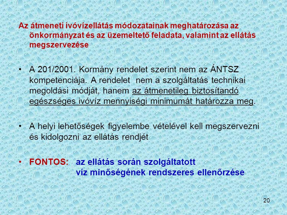 20 Az átmeneti ivóvízellátás módozatainak meghatározása az önkormányzat és az üzemeltető feladata, valamint az ellátás megszervezése •A 201/2001. Korm