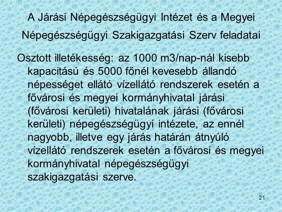 21 A Járási Népegészségügyi Intézet és a Megyei Népegészségügyi Szakigazgatási Szerv feladatai Osztott illetékesség: az 1000 m3/nap-nál kisebb kapacit