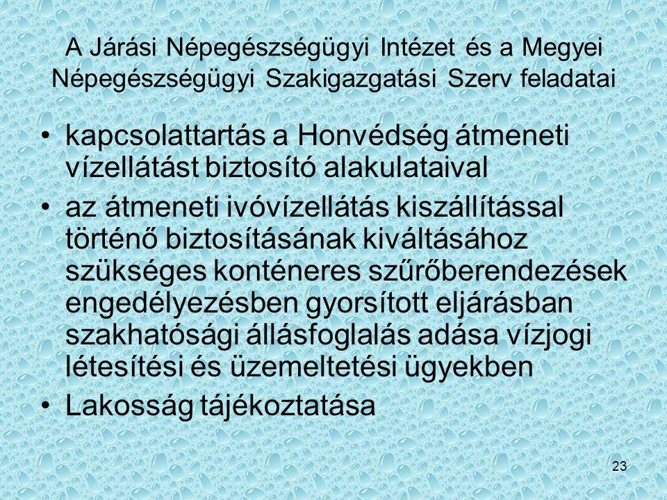 23 A Járási Népegészségügyi Intézet és a Megyei Népegészségügyi Szakigazgatási Szerv feladatai •kapcsolattartás a Honvédség átmeneti vízellátást bizto