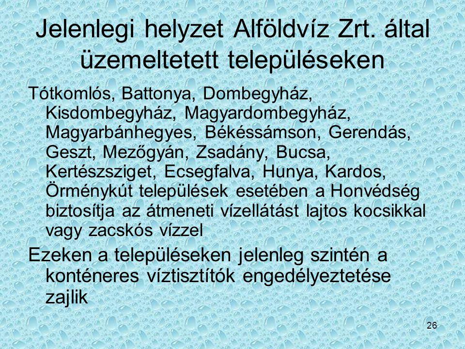 26 Jelenlegi helyzet Alföldvíz Zrt. által üzemeltetett településeken Tótkomlós, Battonya, Dombegyház, Kisdombegyház, Magyardombegyház, Magyarbánhegyes