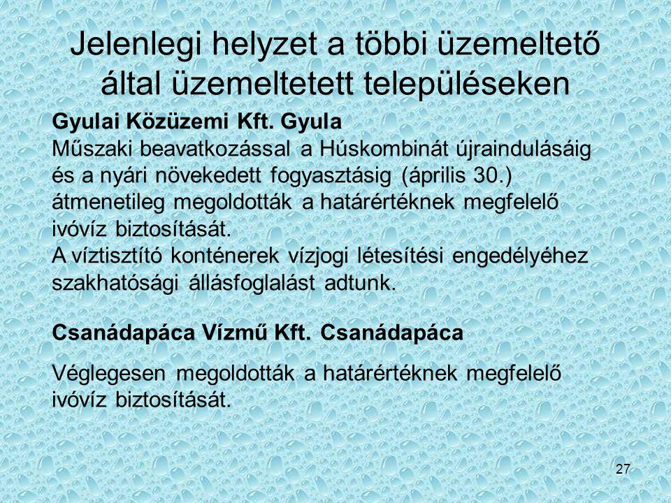 27 Jelenlegi helyzet a többi üzemeltető által üzemeltetett településeken Gyulai Közüzemi Kft. Gyula Műszaki beavatkozással a Húskombinát újraindulásái