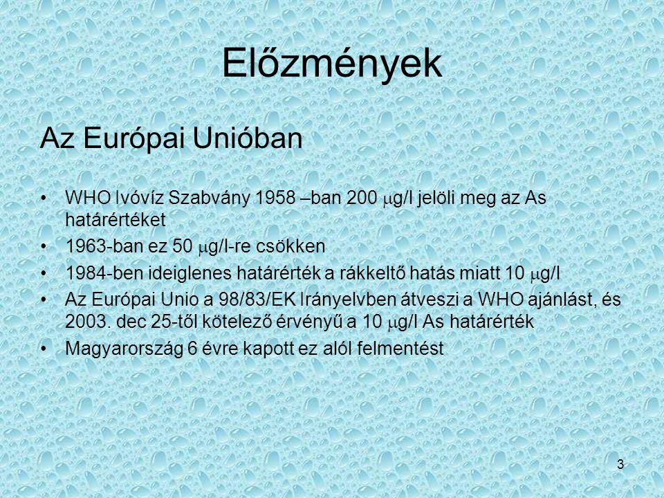 3 Előzmények Az Európai Unióban •WHO Ivóvíz Szabvány 1958 –ban 200  g/l jelöli meg az As határértéket •1963-ban ez 50  g/l-re csökken •1984-ben idei