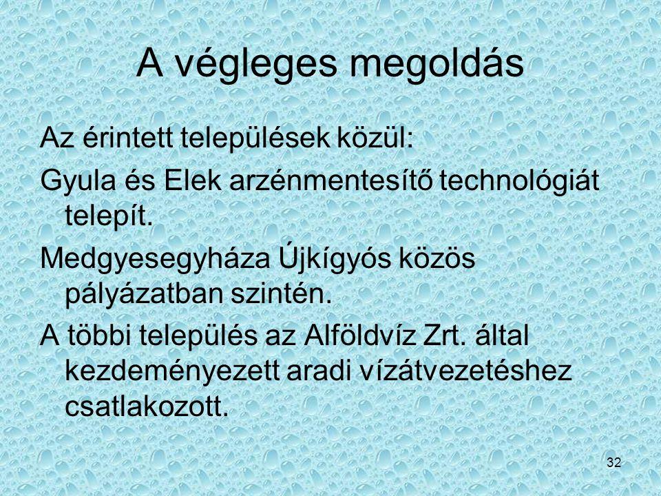 32 A végleges megoldás Az érintett települések közül: Gyula és Elek arzénmentesítő technológiát telepít. Medgyesegyháza Újkígyós közös pályázatban szi