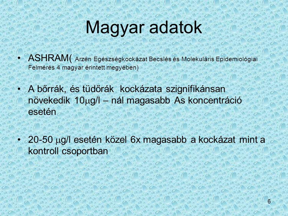 6 Magyar adatok •ASHRAM( Arzén Egészségkockázat Becslés és Molekuláris Epidemiológiai Felmérés 4 magyar érintett megyében) •A bőrrák, és tüdőrák kocká