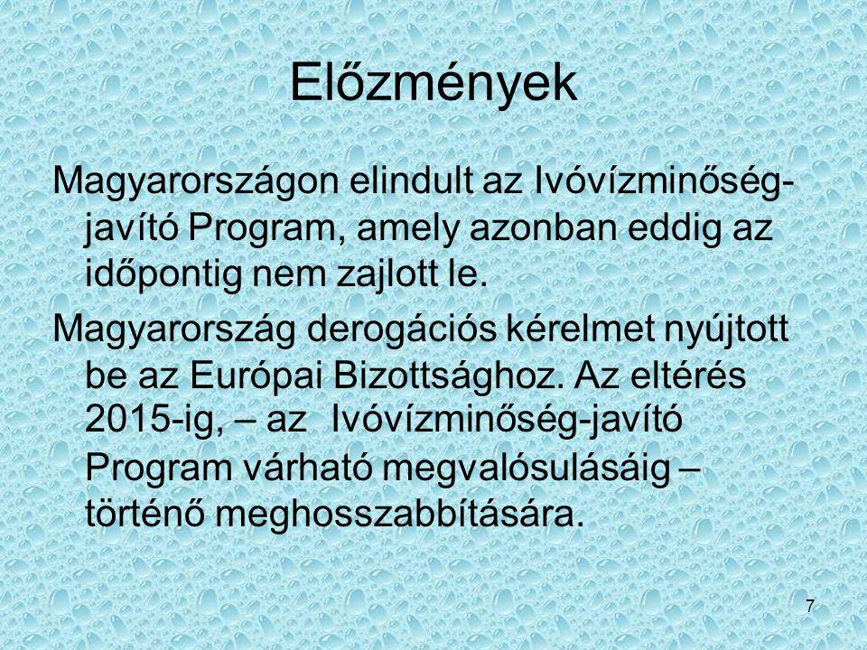 7 Előzmények Magyarországon elindult az Ivóvízminőség- javító Program, amely azonban eddig az időpontig nem zajlott le. Magyarország derogációs kérelm