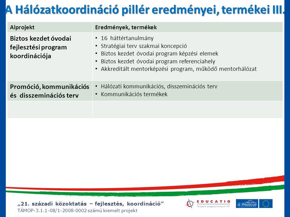 """""""21. századi közoktatás – fejlesztés, koordináció"""" TÁMOP-3.1.1-08/1-2008-0002 számú kiemelt projekt A Hálózatkoordináció pillér eredményei, termékei I"""