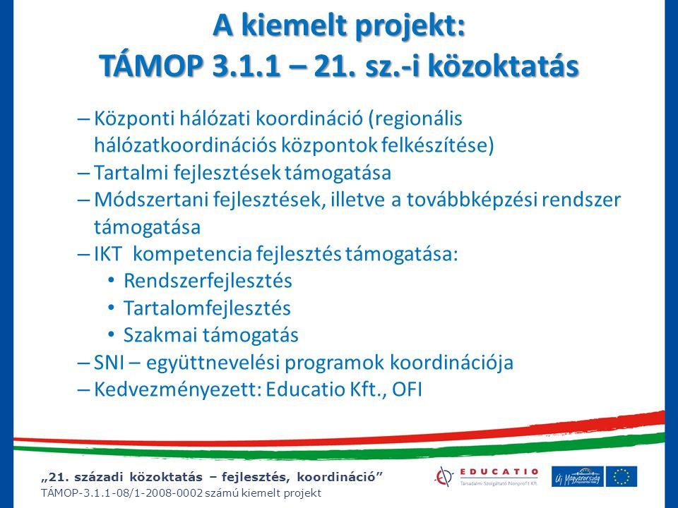 """""""21. századi közoktatás – fejlesztés, koordináció"""" TÁMOP-3.1.1-08/1-2008-0002 számú kiemelt projekt – Központi hálózati koordináció (regionális hálóza"""