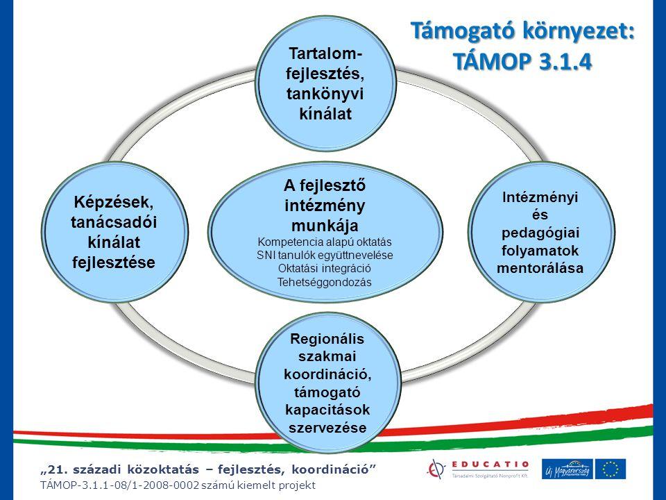 """""""21. századi közoktatás – fejlesztés, koordináció"""" TÁMOP-3.1.1-08/1-2008-0002 számú kiemelt projekt Támogató környezet: TÁMOP 3.1.4 Tartalom- fejleszt"""
